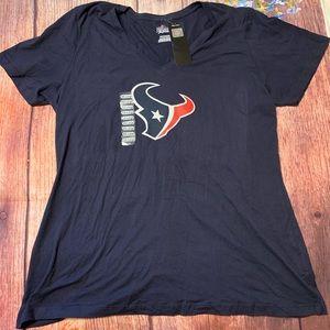 NWT Houston Texans Woman's V Neck T-shirt 2x XXL